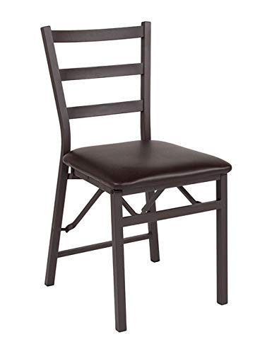 - Offex Folding Ladder Back Metal Chair with Brown Vinyl Seat
