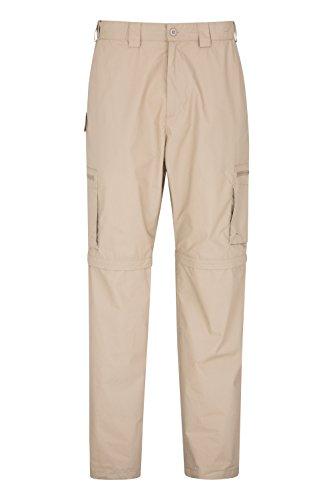 Mountain Warehouse Trek Mens Convertible Trousers -Summer Hiking Pants Dark Beige 32