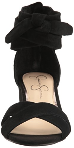Jessica Simpson Frauen Cyrena Offener Zeh Leger Leder Sandalen mit Keilabsatz Black