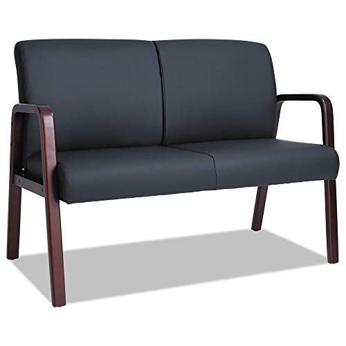 Alera RL Reception Lounge Series Wood Loveseat 44 7/8 x 26 1/8 x 33 Black/Mahogany