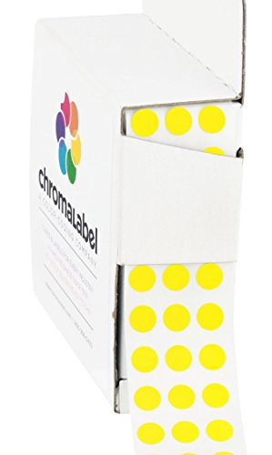 ChromaLabel 1/4 inch Color-Code Dot Labels | 1,000/Dispenser Box (Yellow)