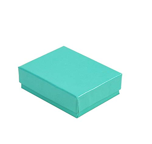 Cotton Filled Jewelry Gift Boxes - 100 pcs Teal Blue Cotton Filled Jewelry Gift Boxes 3x2