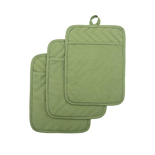 Green Pot Holder - Anyi Oven Pot Holders with Pocket, 100% Cotton Oven Mitts Oven Pads with Feature of Heat Resistant Potholders Non Slip for Cooking Baking, Set of 3 (Green)