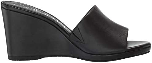 Calvin Klein Women's Britta Wedge Sandal, Black Nappa, 5 M