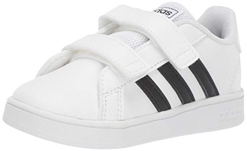 adidas Baby Grand Court Sneaker, Black/White, 10K M US Toddler