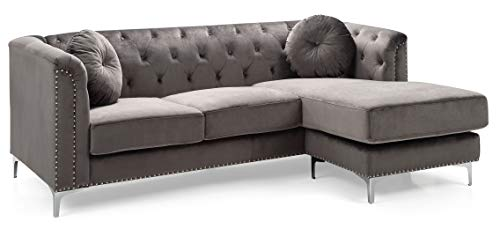 Glory Furniture Pompano G782B-SC Sofa Sectional, Dark Gray. Living Room Furniture, 31 H x 70 W x 58 D