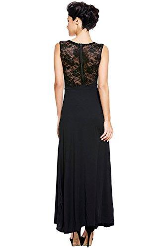 Elegante dama larga noche de encaje negro vestido de cóctel Prom Party Dance Club wear tamaño UK 10–�?2EU 38–�?0
