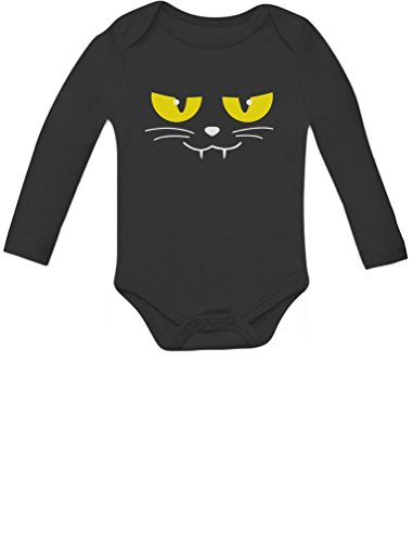 Cute Black Cat Halloween Costumes - Halloween Cat Face Easy Costume for Baby Boy / Girl Cute Baby Long Sleeve Bodysuit 18M Black