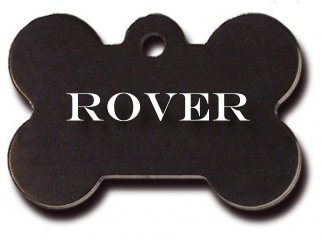 Anodized Solid Color Large Bone Shape Personalized 2 Side Engraved Pet ID Tags- FREE SHIPPING! (Black)