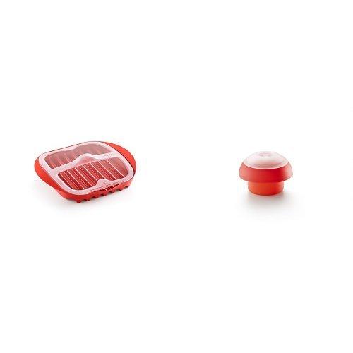 Lékué - Molde para cocinar jamón en microondas + Molde de silicona para cocer huevos, cilíndrico, color rojo