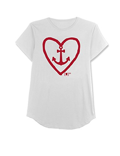 s' (Spongebob) Red Anchor Heart Tee, Ivory, Medium (Heart Anchor)