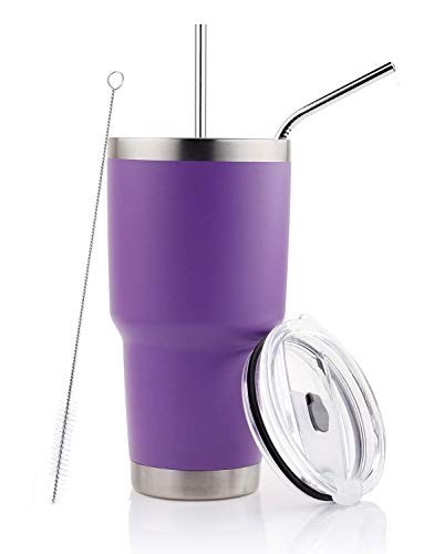 30oz Tumbler Stainless Steel Double Wall Vacuum Insulated Mug with Straw and Lid, Cleaning Brush for Cold and Hot Beverages (30oz Purple) (Purple Cup Tumbler)