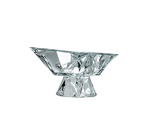 Aurum Crystal AU60401, 13'' Dia Footed Fruit Bowl Angles, Novelty Designed Candy/Snacks Plate on Stem, Centerpiece Dish with Geometrical Crystal Cut Design, Wedding Gift
