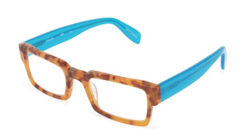 Prince Street - Rectangular Trendy Fashion Reading Glasses for Men and Women - Amber Tortoise/Turquoise (+1.50 Magnification Power) (Glasses Scojo Reading Street)