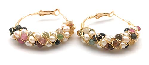 - Bohemian Round Circle White Pearl Natural Multicolor Tourmaline Amazonite Stone Gemstone Gold Plated Cluster Dangle Hoop Earrings Jewelry for Women Girls (Natural Multicolor Tourmaline)