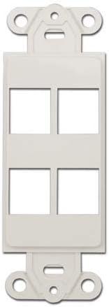 White Decora Wall Plate Insert 4 Keystone Jack   302-4D-W