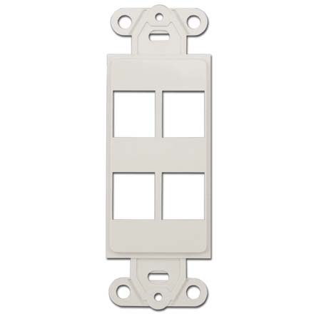 (CableWholesale Decora Wall Plate Insert with 4 Keystone Jack, White (302-4D-W) )