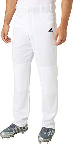 adidas Men's Triple Stripe Open Bottom Baseball Pants (White, Small)