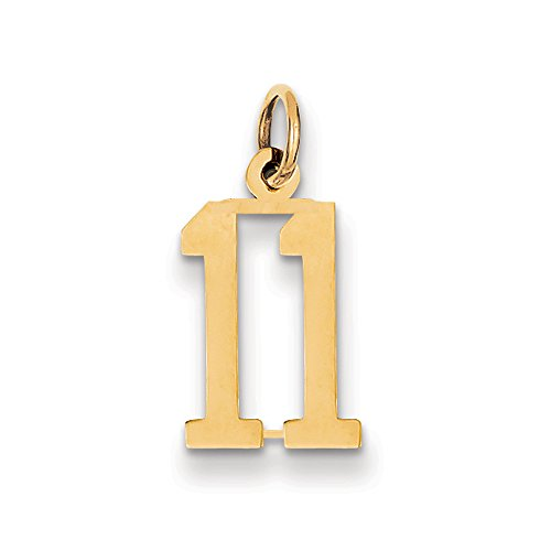 Elongated Number - 14k Yellow Gold, Alumni Collection, Small Elongated Number 11 Pendant