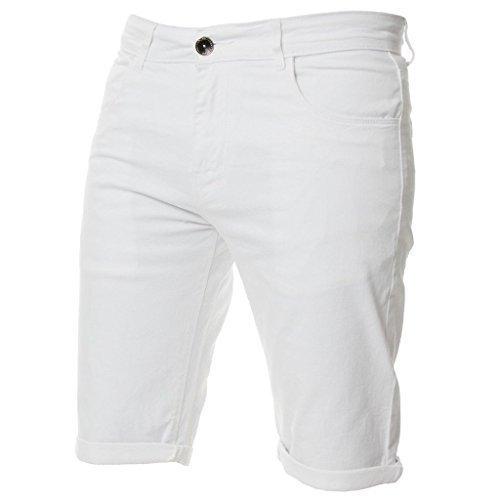 Kruze Herren Chino Shorts markiert Designer Jeans Freizeit blau schwarz rot hellbraun, neu mit Etikett - Weiß, 40 x regular leg