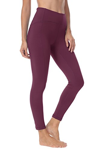 QUEENIEKE Women 25 Inches Yoga Leggings Sports Power Flex Mid-Waist Gym Running Tights XS Color Dark Rose Red
