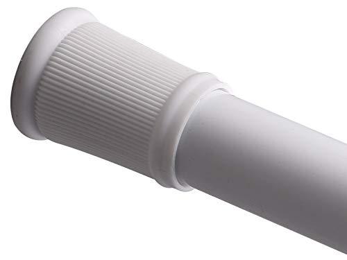 BRIOFOX Tension Curtain Rod 36-63 Inches White, Heavy Duty + Rust-Resistance + Non-Fall Down Curtain Rod (White Shower Curtain Tension Rod)