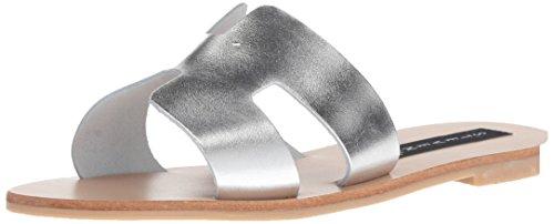 (STEVEN by Steve Madden Women's Greece Sandal, Silver Leather, 9 M)