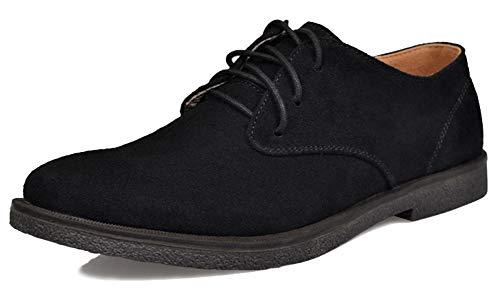 Fangsto Men's Fashion Suede Oxfords Flat Shoes Lace-ups US Size 10.5 Black