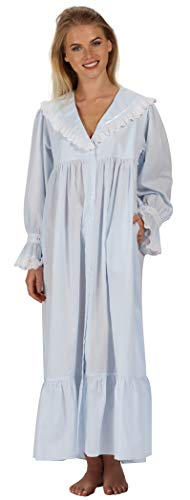 The 1 for U Amelia 100% Cotton Victorian Nightgown with Pockets 7 Sizes (XXXL, Blue)