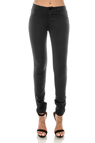 5 Nylon Pockets - Nolabel Womens Basic 5 Pockets Junior Skinny Fit Slim Stretch Bengaline Ponte Pants For Office Casual (Gray Charcoal/XL)