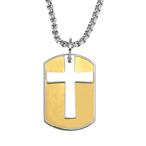 James Dean Gold Cross Dog Tag Pendant Necklace