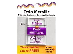 Klasse' Twin Metallic Needles Size 80 - 3.0mm