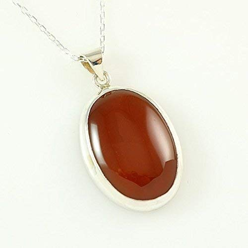 Sterling Silver Natural Oval Orange Carnelian Totally Handcrafted Pendant Necklace 16+2 inches ()