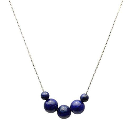 Blue Lapis Stone Station Box Sterling Silver Chain Necklace 16