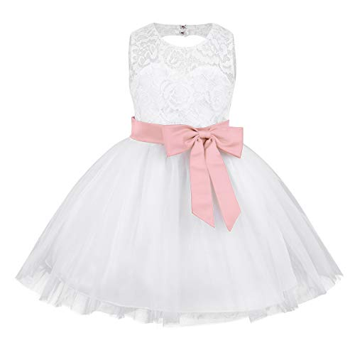 ACSUSS Infant Baby Girls Wedding Bridesmaid Flower Dress Lace Bodice Bow-Knot Ball Gown Pearl Pink 9-12 Months ()