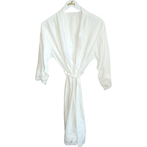 David's Bridal Blank Cotton Lace Robe Style EB3184, White (Stopper Seashell White Bottle)