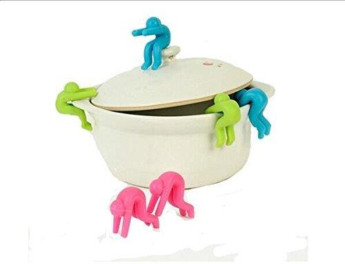 (JASSINS 2 pcs Raise The Lid Prevents Soup Pot Overflow Sillicone Eco-friendly Tools Kitchen Clip holder creative villain)