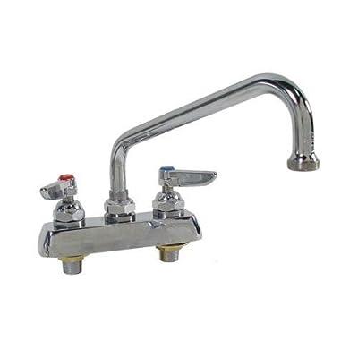 "T&S Brass B-1113-XS Work Board Faucet, Deck Mount, 4"" Centers, 12"" Swing Nozzle, Lever Handles, 2"" Shank"