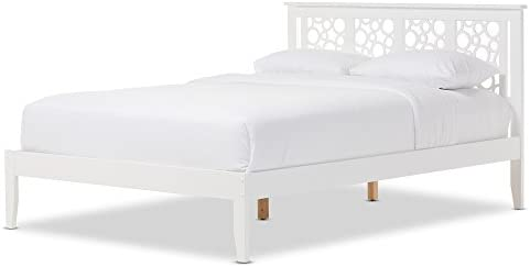 Baxton Studio Chace Modern and Contemporary Geometric Pattern White Solid Wood Platform Bed, Queen, White