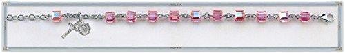 Swarovski Crystal Pink Cube Shaped Rosary Bracelet 6mm