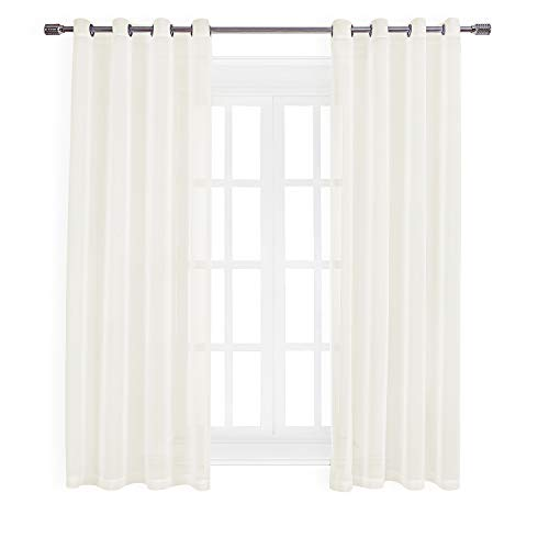 Faux Linen Sheer Curtains Voile Grommet Semi Sheer Curtains for Bedroom Living Room Set of 2 Curtain Panels 54 x 84 inch ()