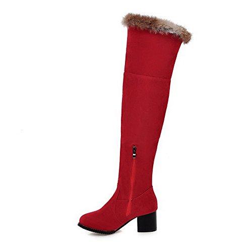 Toe Solid Zipper High Heels Kitten Round AmoonyFashion Women's Red Boots top Closed B6wqtt0Un