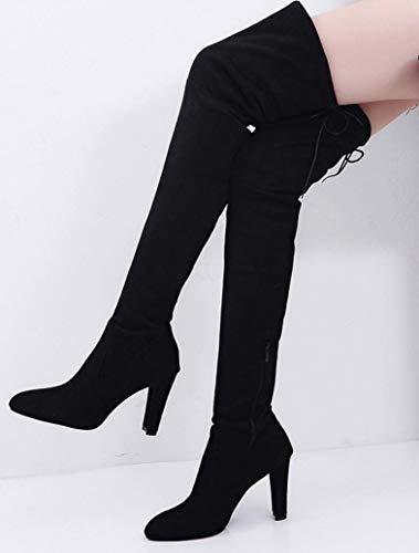 Pointu Faux Slim Zip Noir Stretch De À Familizo Hauts Femme Du Dames Talons Des Au Chaussures Bottes dessus Genou Hauts qIwfZZEax