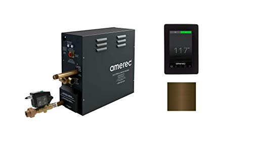 AX 7.5 KW Steam Bath Generator with Elite Touch Screen Control - Steam Head and Automatic Drain Kit (Brushed Bronze Trim)
