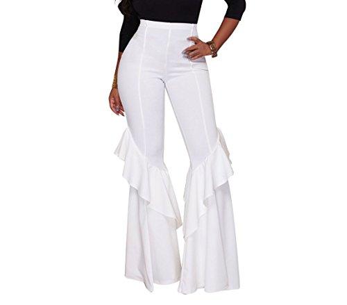 VERTTOP Women High Waist Plain Long Full Length Wide Leg Ruffle Falbala Bell Bottom Woman Pant White XL