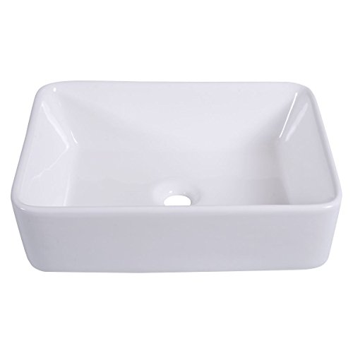 Bathroom Rectangle Ceramic Vessel Sink Vanity Pop Up Drain Modern Art Basin Made Of Ceramic, Rugged And (Gallery Pedestal Bowl)