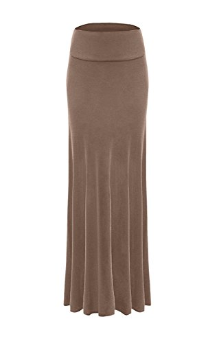 Sportoli Women Maxi Skirt Solid Long Flare Rayon Spandex Fold Over - Made in USA - Mocha (Size S) -