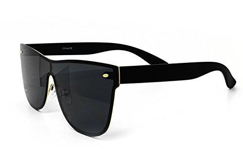O2 Eyewear 7155 Premium Oversize Wraparound Rimless Shield Flat Matte Finish Mirror Sunglasses (Wraparound Rimless, - Mirror Finish Sunglasses