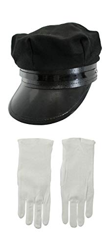 Nicky Bigs Novelties Black Chauffeur Chauffer Hat White Gloves Police Officer Limo Driver Cap Costume ()