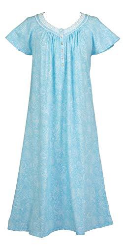 Aria Cotton Knit Cap Sleeve Nightgown in Aqua Flourish (Aqua/White, - Nightgown Aria Long